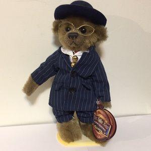"""Vintage Brass Button Bears, Baxter, 12"""" stand incl"""